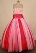 Fashionable Ball Gown Sweetheart Floor-length Pink Organza Beading Quinceanera dress Style FA-L-332