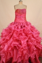 Gorgeous Ball Gown Strapless Floor-length Hot Pink Organza Appliques Quinceanera dress Style FA-L-33