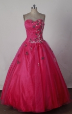 Gorgeous Ball Gown Strapless Floor-length Red Quinceanera Dress X0426022