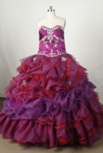 Gorgeous Ball Gown Sweetheart Floor-length Burgundy Organza Beading Quinceanera dress Style FA-L-056