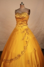 Gorgeous Ball Gown Sweetheart Floor-length Quinceanera Dresses Appliques with Beading Style FA-Z-033