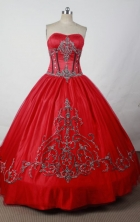 Gorgeous Ball Gown Sweetheart Floor-length Red Satin Beading Quinceanera dress Style FA-L-069