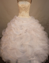 Gorgeous ball gown strapless floor-length organza appliques white quinceanera dresses FA-X-089