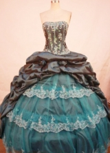 Gorgeous ball gown strapless floor-length taffeta appliques navy blue quinceanera dresses FA-X-143