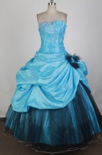 Inexpensive Ball Gown Strapless Floor-length Aqua Blue Quinceanera Dress X0426060