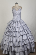 Inexpensive Ball Gown Strapless Floor-length Grey Quinceanera Dress X0426086