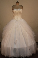 Lovely Ball Gown Sweetheart Neck Floor-Length White Beading Quinceanera Dresses Style FA-S-270