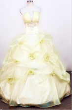Lovely Ball gown Strapless Floor-length Organza Yellow Quinceanera Dresses Style FA-W-061