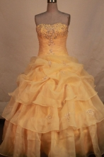 Lovely ball gown strapless floor-length organza beading gold quinceanera dresses FA-X-145