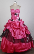 Low Price Ball Gown Strapless Floor-length Red Quinceanera Dress X0426032
