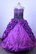 Luxuriously Ball Gown Sweetheart Floor-length PurpleTaffeta Quinceanera dress Style FA-L-013