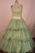 Modest Ball Gown Halter Top Floor-length Olive Green Organza Beading Quinceanera dress Style FA-L-30