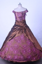 Modest Ball Gown Off The ShoulderFloor-length Brown TaffetaEmbroideryQuinceanera dress Style FA-L-05