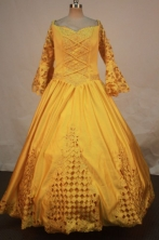 Modest Ball Gown Squre Floor-length Yellow Satin Quinceanera dress Style FA-L-247