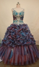 Modest Ball Gown Strap Floor-length Brown Taffeta Beading Quinceanera dress Style FA-L-071