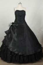 Modest Ball Gown Strapless Floor-length Black Taffeta Beading Quinceanera dress Style FA-L-048