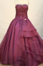 Modest Ball Gown Strapless Floor-length Magenta Organza Beading Quinceanera dress Style FA-L-082
