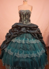 Perfect Ball Gown Strapless Floor-length Black Taffeta Ball Gown Quinceanera dress Style FA-L-260