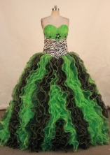 Perfect Ball Gown Sweetheart Floor-length Green Organza Beading Quinceanera dress Style FA-L-336