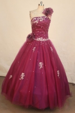 Popular Ball Gown One Shoulder Floor-length Burgundy Appliques Quinceanera dress Style FA-L-227