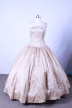 Popular Ball Gown One Shoulder Floor-length Champange Embroidery Quinceanera dress Style FA-L-069
