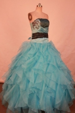 Popular Ball Gown Strapless Floor-length Aqua Blue Organza Quinceanera dress Style FA-L-303