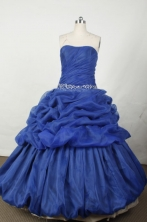 Popular Ball Gown Strapless Floor-length Blue Embroidery Quinceanera dress Style FA-L-050