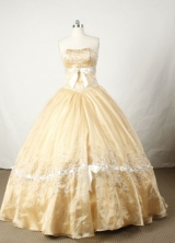 Popular Ball Gown Strapless Floor-length Champange Satin Beading Quinceanera dress Style FA-L-053