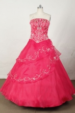 Popular Ball Gown Strapless Floor-length Red Organza Embroidery Quinceanera dress Style FA-L-049
