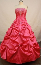 Popular Ball Gown Strapless Floor-length Red Taffeta Beading Quinceanera dress Style FA-L-075