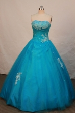Popular Ball Gown Strapless Floor-length Teal Appliques Quinceanera Dress Style FA-L-063