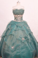 Popular ball gown strapless floor-length organza appliques dark green quinceanera dresses FA-X-170