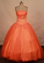 Pretty ball gown strapless floor-length beading orange red quinceanera dresses FA-X-153