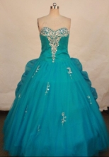 Pretty ball gown sweetheart-neck floor-length organza Quinceanera dresses TD2445