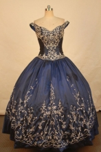 Romantic Ball Gown Off The Shoulder Floor-length Navy Blue Satin Quinceanera dress Style LJ42487