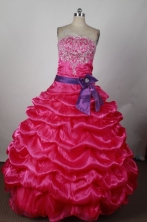 Romantic Ball Gown Strapless Floor-length Hot Pink Taffeta Beading Quinceanera dress Style FA-L-215