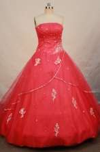 Romantic Ball Gown Strapless Floor-length Red Organza Appliques Quinceanera dress Style FA-L-095