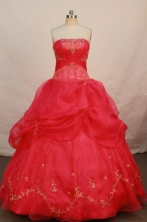 Romantic Ball Gown Strapless Floor-length Red Organza Organza Quinceanera dress Style FA-L-097