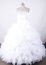 Romantic Ball Gown Strapless  Floor-length White Organza Quinceanera dress Style FA-L-006