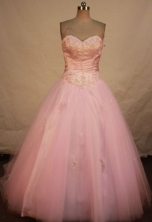 Simple A-line sweetheart-neck floor-length appliques pink quinceanera dresses FA-X-177