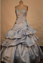 Simple A-line sweetheart-neck floor-length beading quinceanera dresses FA-X-151