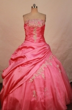 Simple Ball Gown Strapless  Floor-length Rose pink Taffeta Appliques Quinceanera dress Style FA-L-29
