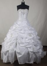 Simple Ball Gown Strapless Floor-length White Quinceanera Dress LJ2637