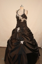 Simple Ball gown Halter top neck Floor-Length Quinceanera Dresses Style FA-Y-47