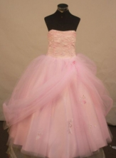Sweet Ball Gown Floor-length Baby Pink Organza Appliques Quinceanera dress Style FA-L-235