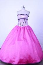 Sweet Ball Gown Strapless Floor-length Fuchsia Taffeta Beading Quinceanera dress Style FA-L-014
