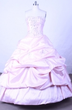 Sweet Ball Gown Strapless Floor-length Light Pink Taffeta Beading Quinceanera dress Style FA-L-061