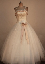 Sweet Ball Gown Straps Floor-Length White Beading Quinceanera Dresses Style FA-S-295