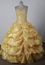 Sweet Ball Gown Sweetheart Floor-length Yellow Quincenera Dresses TD26005
