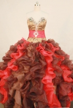 The super hot ball gown sweetheart-neck floor-length organza beading quinceanera dresses FA-X-175